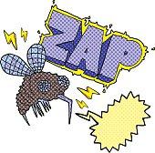 comic book speech bubble cartoon fly zapped