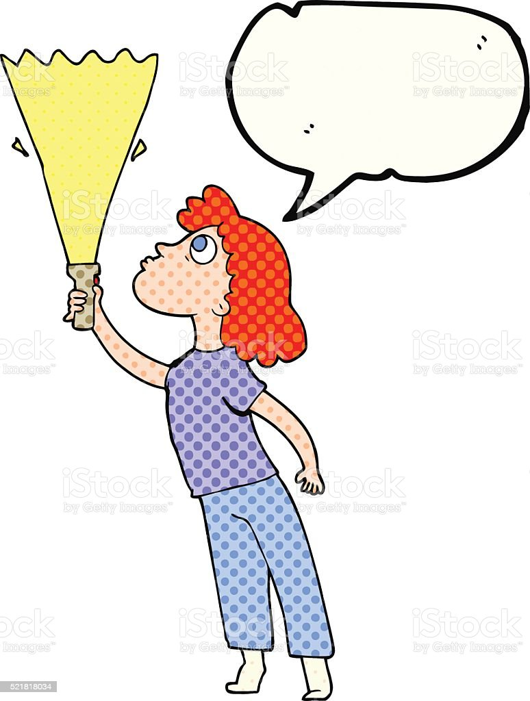 コミックブック音声バブルの漫画女性のトーチで検索 - いたずら書きの
