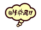 Comics style speech bubble with swear words symbols retro comics vector illustration