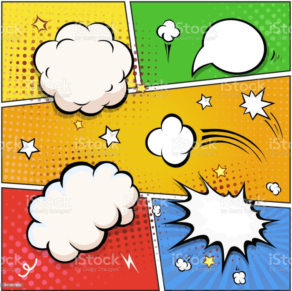 Comic Book Speech Bubbles. retro design elements Vector vector art illustration