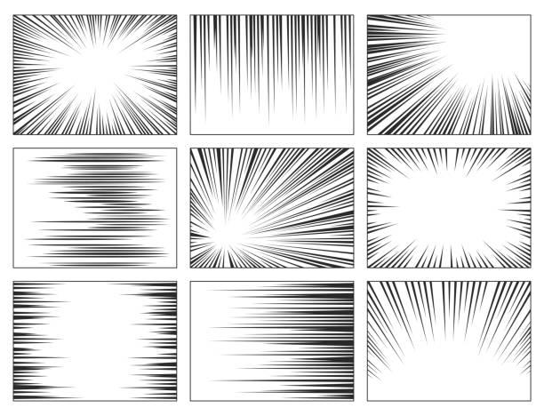 zestaw linii prędkości komiksu, efekt eksplozji - linia stock illustrations