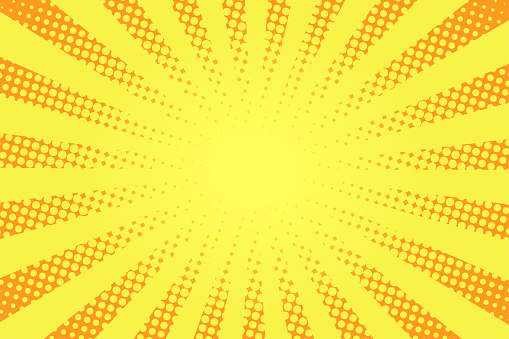 Comic book style background. Halftone texture, vintage dotted background in pop art style. Retro sun rays, sunbeams
