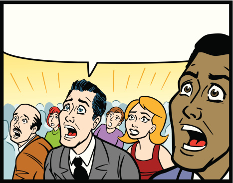Great illustration of a crowd of people in fear of something. Perfect for a political or people illustration. EPS and JPEG files included. Be sure to view my other illustrations, thanks!