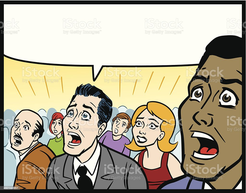 Comic Book Style Crowd In Fear vector art illustration