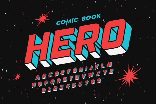 comic-buch-stil-schriftart - comic font stock-grafiken, -clipart, -cartoons und -symbole