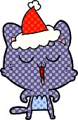 hand drawn comic book style illustration of a cat singing wearing santa hat