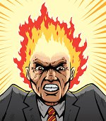Comic book style image of a man with his head on fire