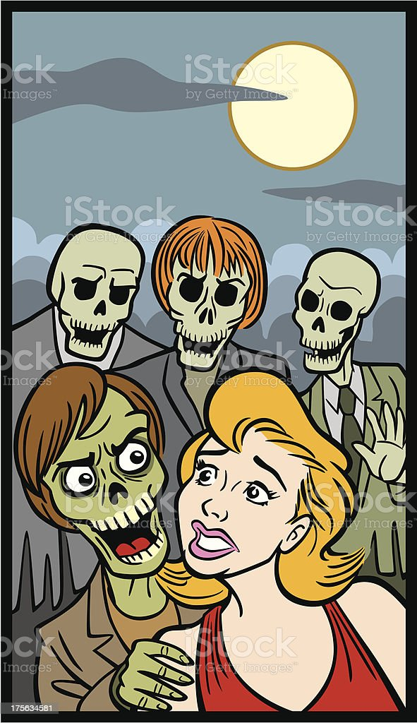 Comic Book Style Of Woman And Zombies royalty-free stock vector art