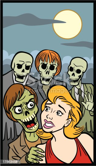 istock Comic Book Style Of Woman And Zombies 175634581