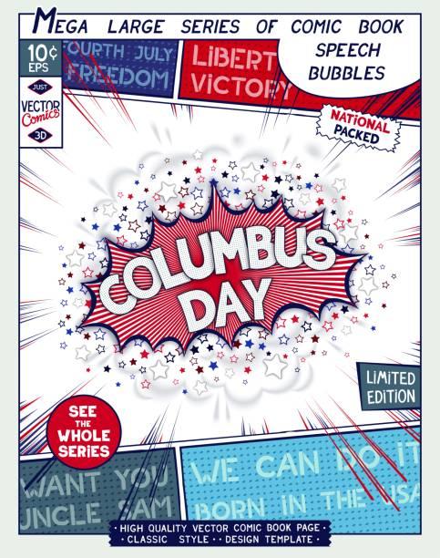 çizgi roman tarzı poster - columbus day stock illustrations