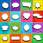 Comic book template with white blank speech bubbles of different shapes on colorful backgrounds with rays, halftone, slanted lines, radial and dotted effects. Pop-art style. Vector illustration