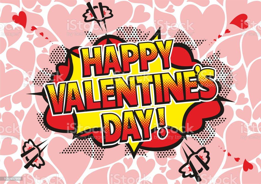 Comic Book Valentines Day Greeting vector art illustration