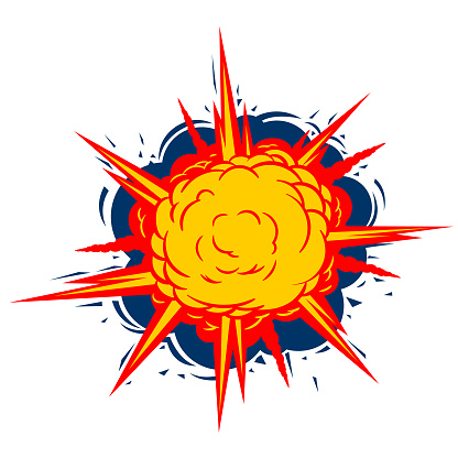 Explode drawing in comic book style. Vector symbol