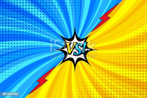 Comic book versus horizontal template with two confrontational sides, lightnings, speech bubble, twisted radial and halftone effects in blue and yellow colors. Vector illustration