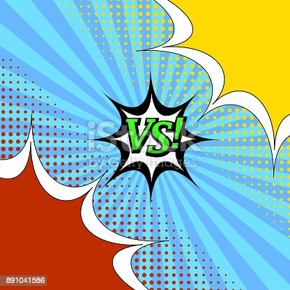 Comic book versus template with two colorful speech bubbles and halftone effects on blue radial background. Vector illustration