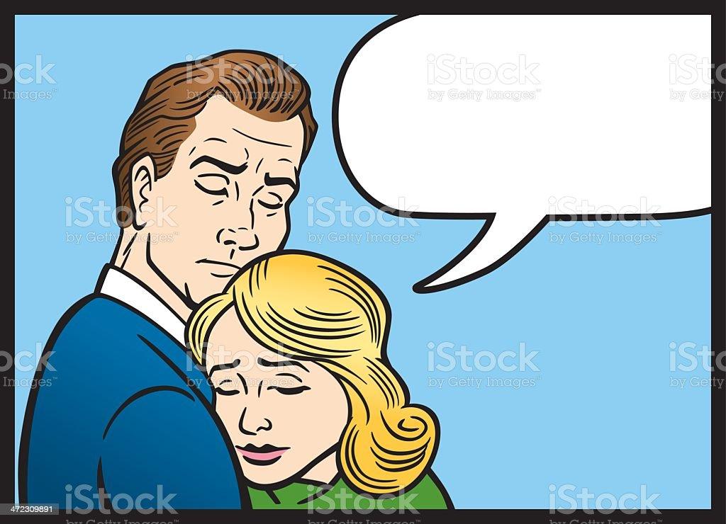 Comic Book Woman and Man Hug vector art illustration