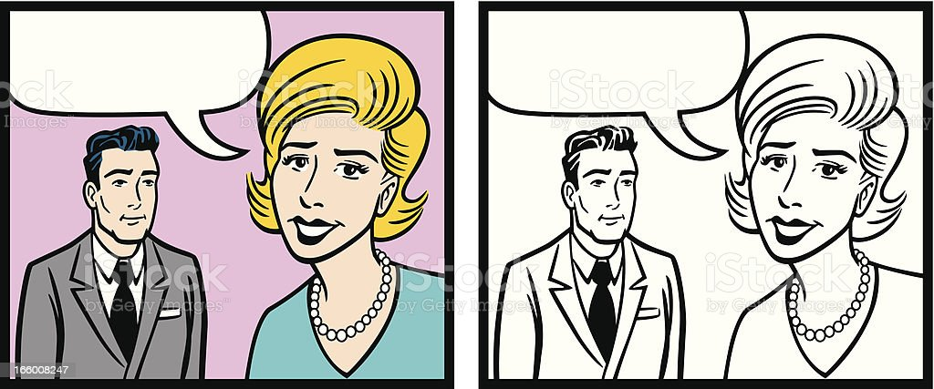 Comic Book Woman And Man With Hairstyle royalty-free comic book woman and man with hairstyle stock vector art & more images of 1950-1959