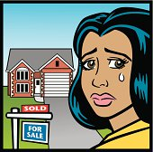 Great illustration of a woman crying over the loss of her home. Perfect for a foreclosure or real estate illustration. EPS  and JPEG files included. Be sure to view my other illustrations, thanks!