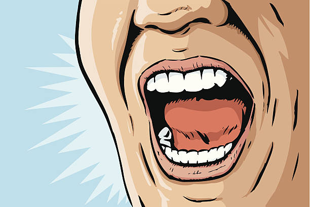 Comic book yelling mouth Illustration of a mouth yelling displeased stock illustrations
