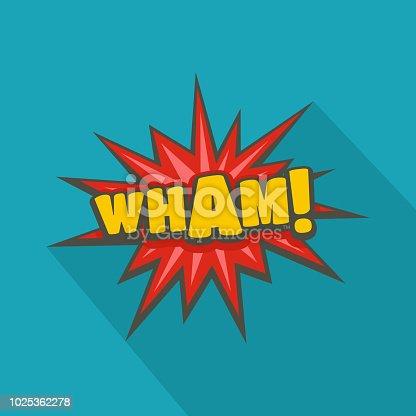 istock Comic boom wham icon, flat style 1025362278