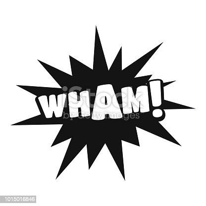 istock Comic boom wham icon, simple black style 1015016846