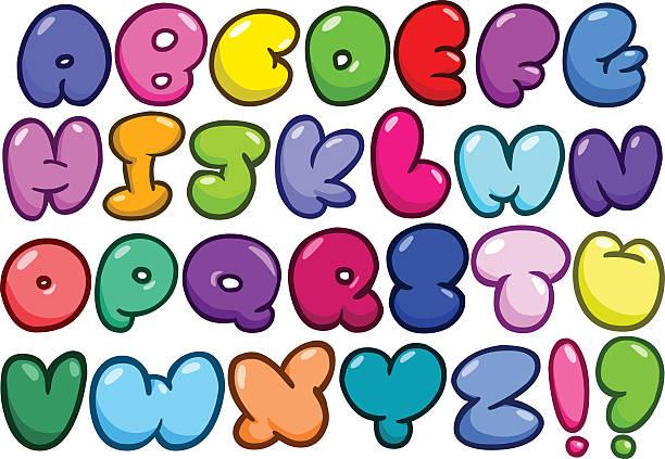 comic bubble alphabet set - bubble fonts stock illustrations