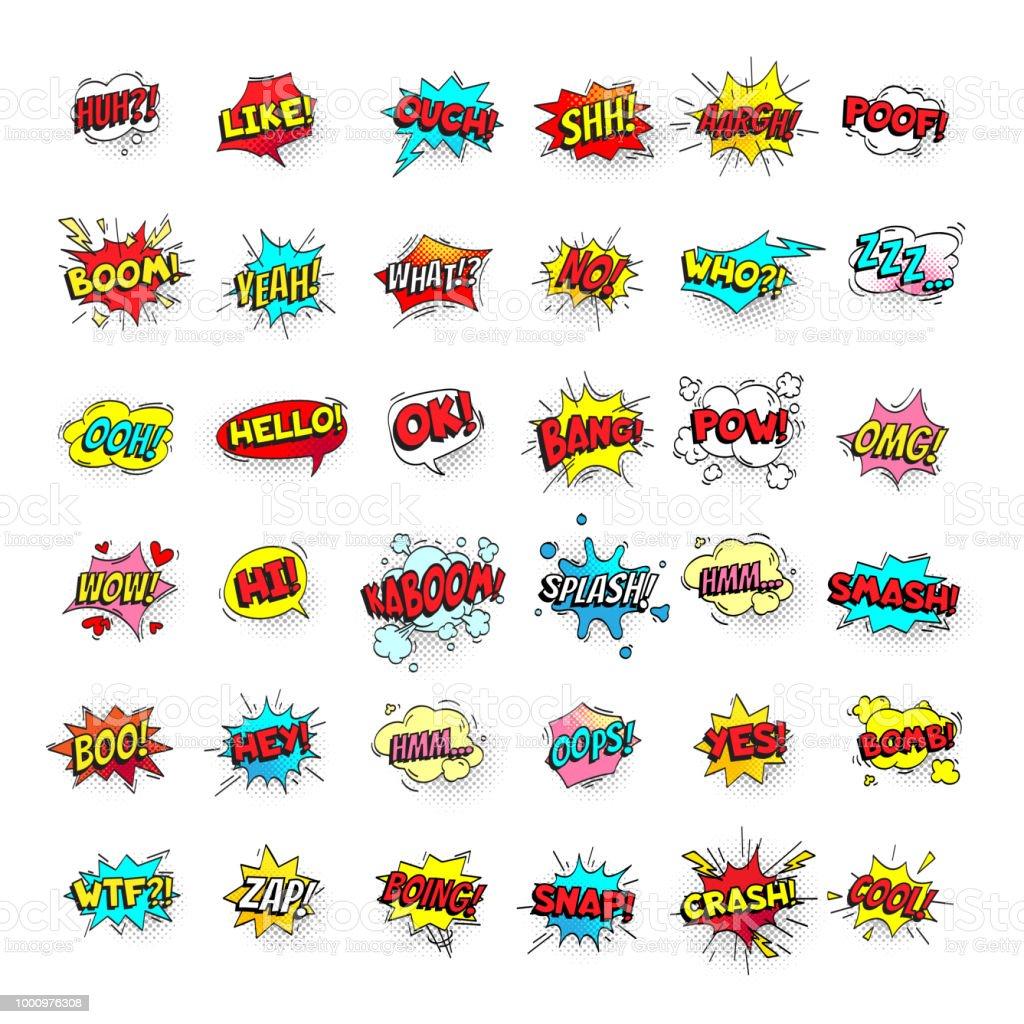 Burbujas de cómic. Dibujos animados de globos de texto. Expresiones de Pow y zap, smash y auge. Discurso burbuja vector arte pop etiquetas engomadas aisladas ilustración de burbujas de cómic dibujos animados de globos de texto expresiones de pow y zap smash y auge discurso burbuja vector arte pop etiquetas engomadas aisladas y más vectores libres de derechos de amarillo - color libre de derechos