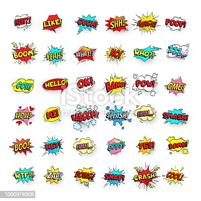 istock Comic bubbles. Cartoon text balloons. Pow and zap, smash and boom expressions. Speech bubble vector pop art stickers isolated 1000976308