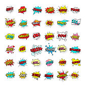 Comic bubbles. Cartoon text balloons. Pow and zap, smash and boom expressions. Speech bubble vector pop art stickers isolated