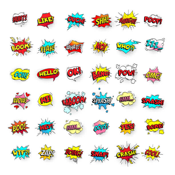 ilustrações de stock, clip art, desenhos animados e ícones de comic bubbles. cartoon text balloons. pow and zap, smash and boom expressions. speech bubble vector pop art stickers isolated - divertimento