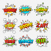 Comic bubbles. Funny comics words in speech bubble frames. Wow oops bang zap thinking clouds. Expression balloons vector set