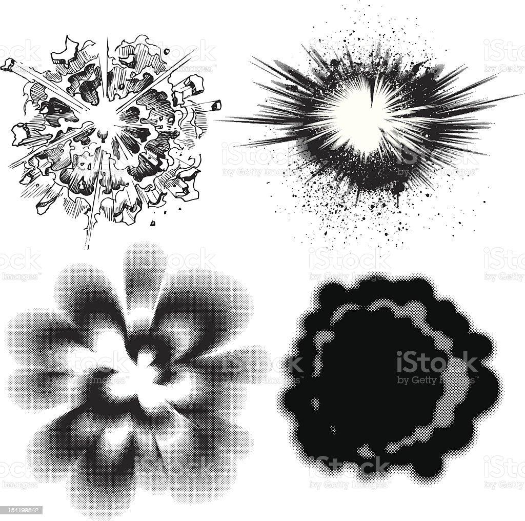 Comic Burst Explosions - Version II royalty-free stock vector art