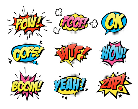 Comic burst text balloons flat icon collection. Cartoon smash and surprise speech bubbles vector illustration set. Expression and retro word effect concept