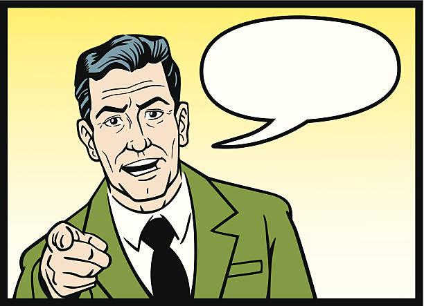Comic Business Man vector art illustration