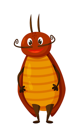 Comic cartoon cockroach mascot isolated on white