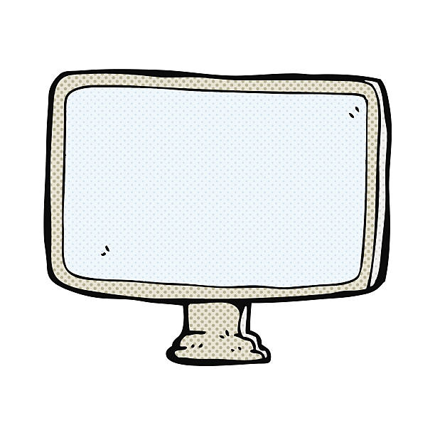 comic cartoon computer screen vector art illustration