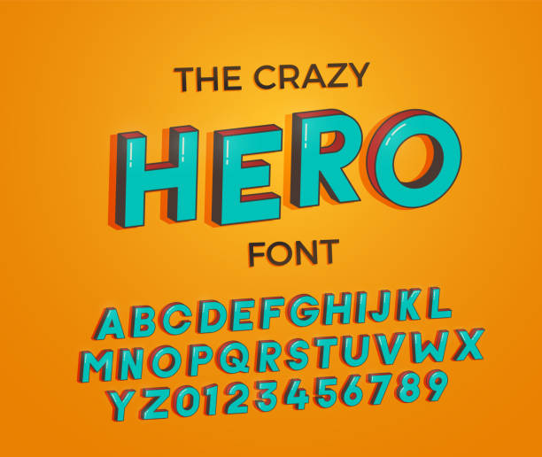 Comic cartoon crazy hero font. Vector illustration 3d design vector art illustration