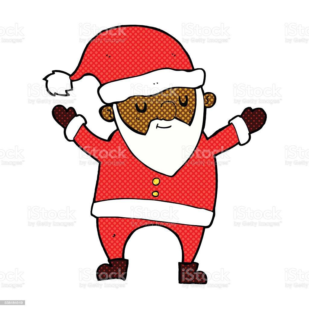 Comic Weihnachtsmann Cartoontanz Stock Vektor Art Und Mehr