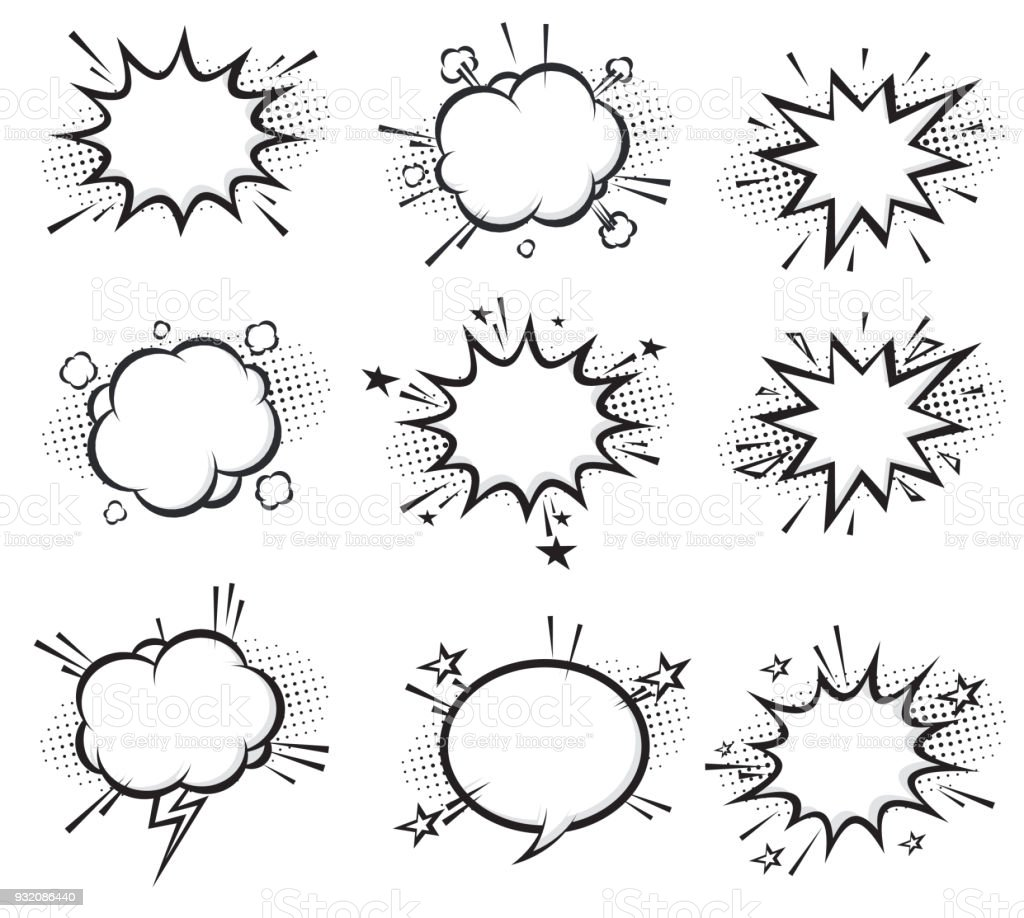 Explosions de dessin animé comique - Illustration vectorielle