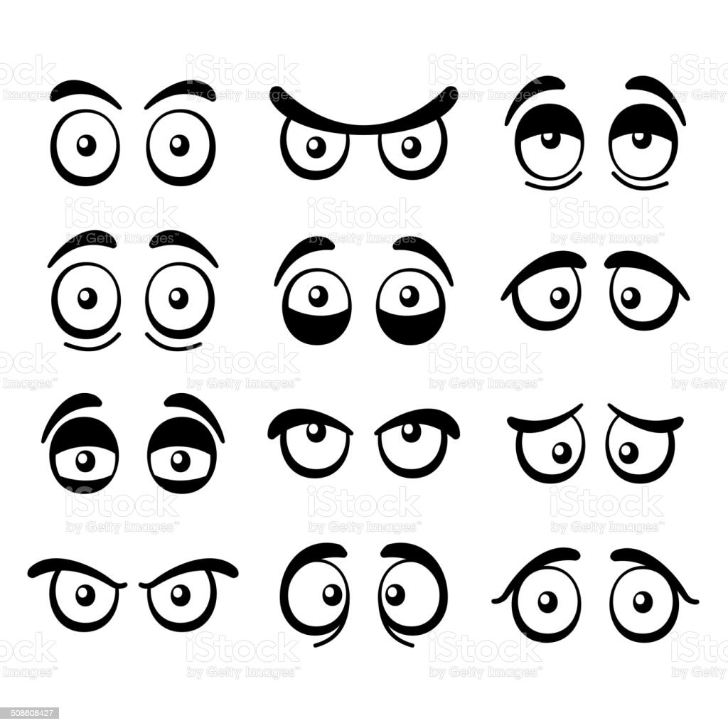 Comic Cartoon Eyes Set. Vector vector art illustration