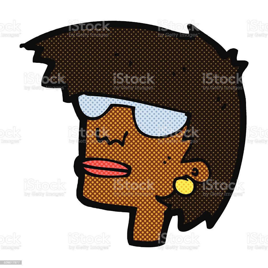 Comic Cartoon Female Face With Glasses Stock Illustration Download Image Now Istock