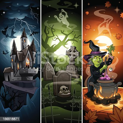 istock Comic Cartoon Halloween Banner with Draculas Castle, Scary Graveyard, Witch 156518871