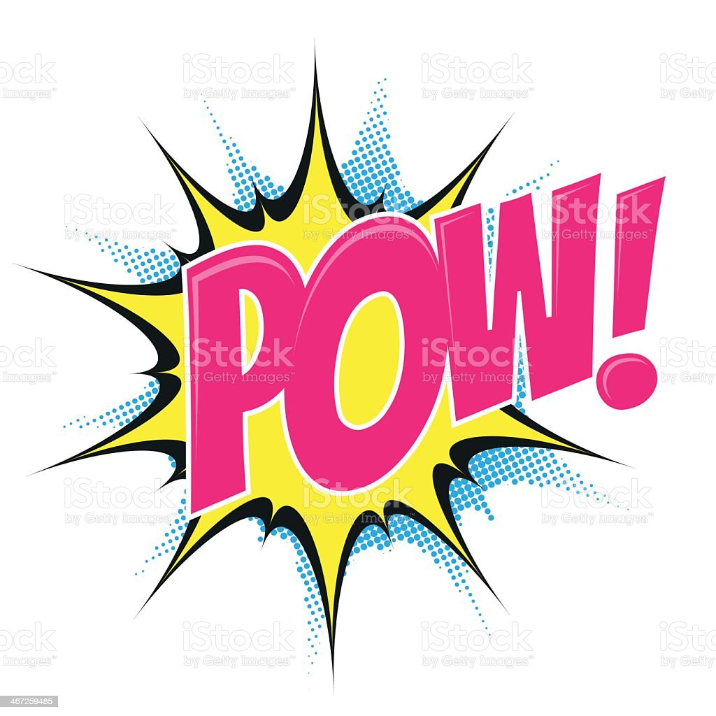 A comic cartoon POW! font explosion vector art illustration