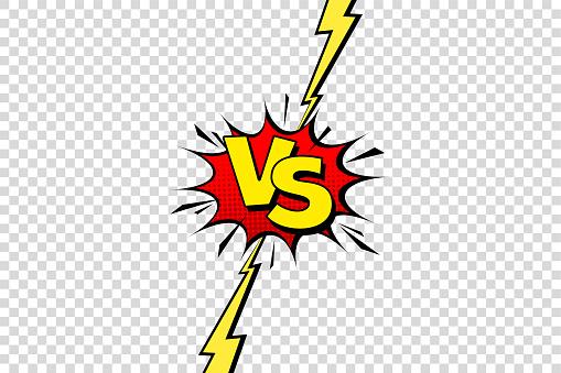 Comic challenge background. Cartoon battle, fight border. Versus or vs frame with lightning. Sports team competition poster. Vector illustration