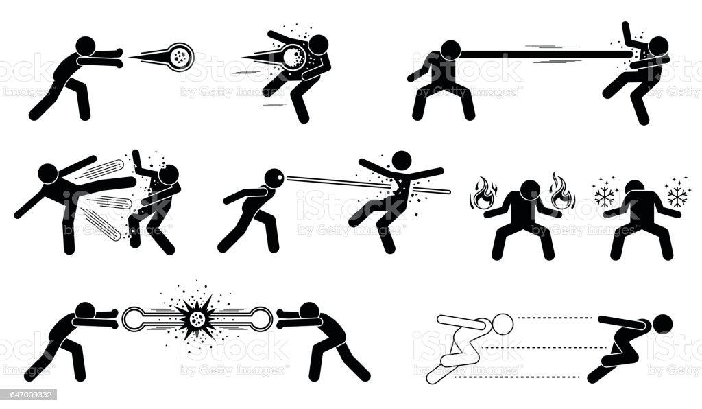 マンガのキャラクター特殊強力な攻撃 イラストレーションのベクター