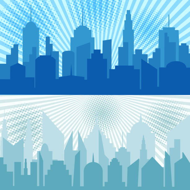 漫画市水平方向のバナー - 漫画の風景点のイラスト素材/クリップアート素材/マンガ素材/アイコン素材