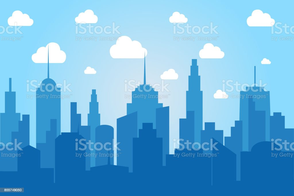 Comic cityscape light background vector art illustration