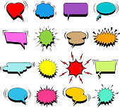 Comic colorful blank speech bubbles set with lightnings and different sound effects on white background. Vector illustration