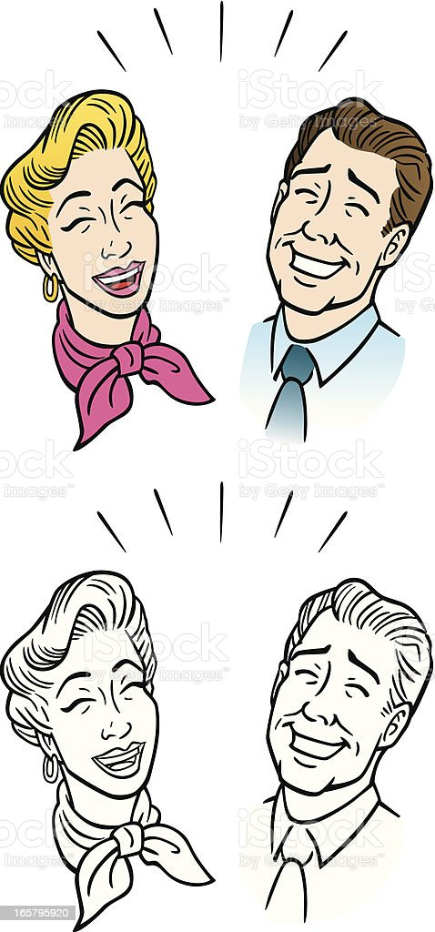Comic Couple Laughing vector art illustration