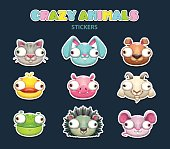 Comic crazy animal faces set